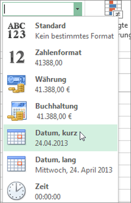 Befehl 'Kurzes Datum' im Katalog 'Zahlenformat'