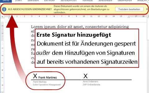 Dokument mit erster Signatur, sodass keine Änderungen mehr möglich sind