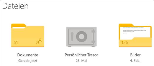 """Screenshot des Ordners """"Persönlicher Tresor"""" auf OneDrive"""
