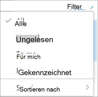 Ein Screenshot zeigt die Option alle im Steuerelement Filte für e-Mail-Nachrichten ausgewählt sind.