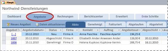 Registerkarte 'Angebote' der Datenbankvorlage 'Dienstleistungen'