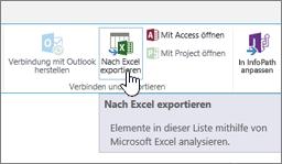 """Auf dem SharePoint-Menüband hervorgehobene Schaltfläche """"In Excel exportieren"""""""