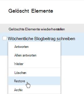 """Screenshot des Menüs """"Gelöschte Elemente wiederherstellen"""""""