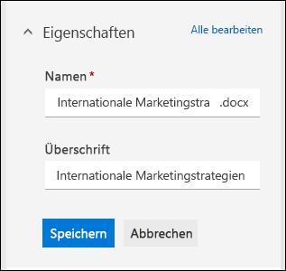 Bearbeiten aller Eigenschaften für eine  Datei in einer Dokumentbibliothek