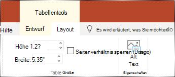 """Schaltfläche """"Alternativ Text"""" im Menüband für eine Tabelle in PowerPoint Online"""