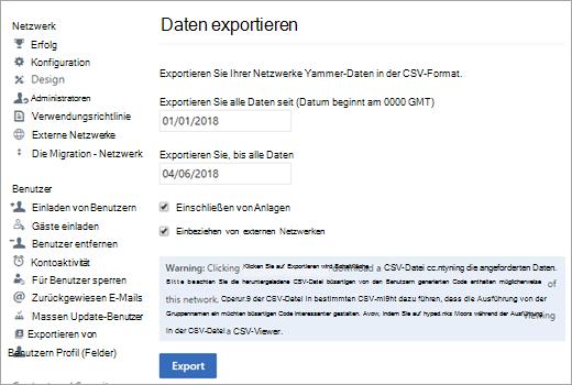 """Seite """"Exportieren"""" mit Option ' exportieren '"""