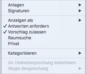 """Menü für Besprechungen, """"Skype-Besprechung"""" deaktiviert"""