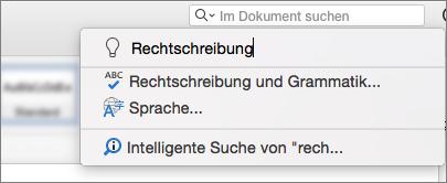 """Das Suchfeld """"Sie wünschen"""" in Word für Mac 2016"""