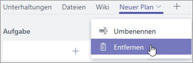"""Screenshot des Dropdownmenüs """"Registerkarte"""" zum Auswählen von """"Entfernen"""""""