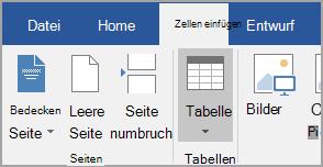 Einfügen einer Tabelle