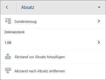 """Befehl """"Absatz"""" mit Formatierungsoptionen"""