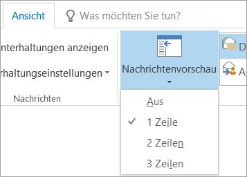 """Optionen für """"Nachrichtenvorschau"""" auf der Registerkarte """"Ansicht"""""""