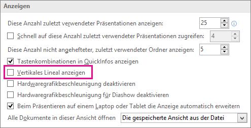 """Kontrollkästchen """"Vertikales Lineal anzeigen"""""""
