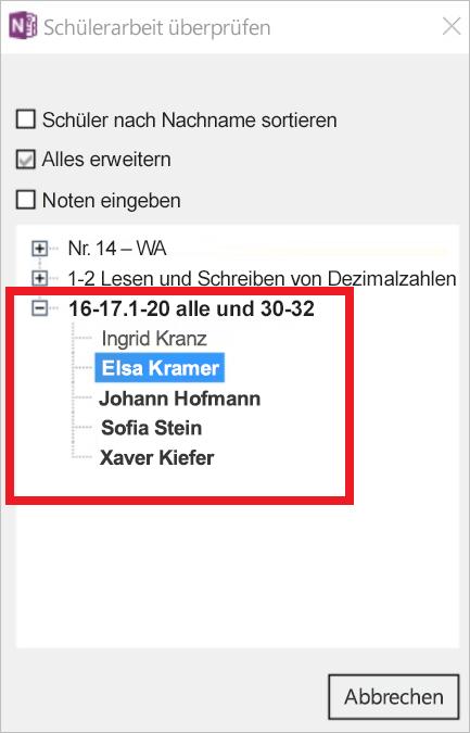 Screenshot mit-Student Arbeit zu prüfenden