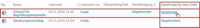 Klicken auf den Workflowstatuslink