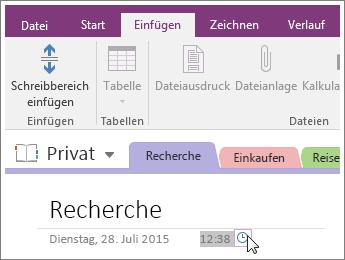 Screenshot: Ändern des Zeitstempels auf einer Seite in OneNote 2016