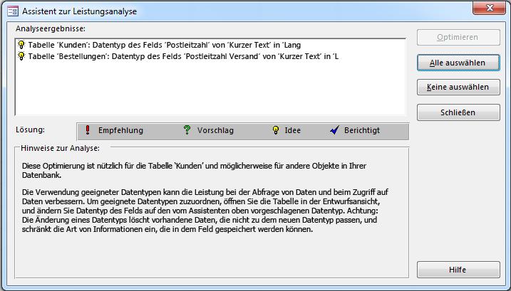 """Dialogfeld """"Assistent zur Leistungsanalyse"""" mit den Ergebnissen nach Ausführung in einer Access-Datenbank"""