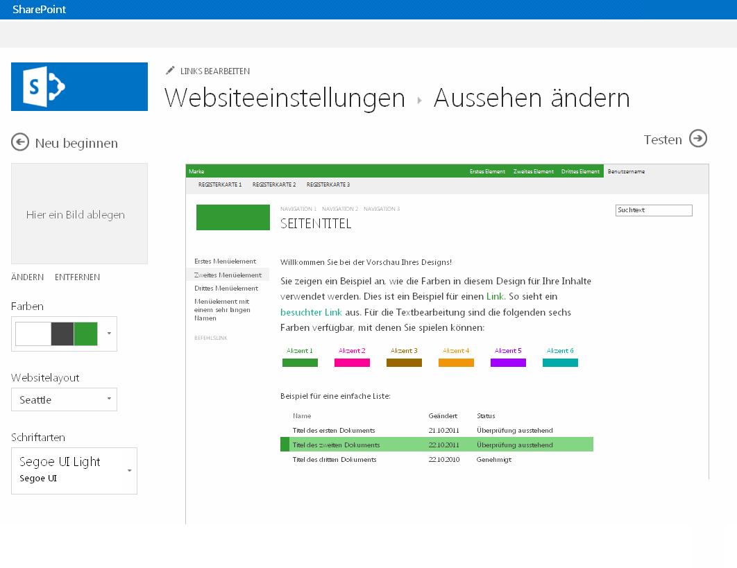 Ändern von Farbe, Layout und Design einer SharePoint-Veröffentlichungswebsite