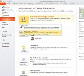 """Registerkarte """"Datei"""" als eine Möglichkeit, um zu sehen, ob eine Präsentation von anderen Autoren geändert wurde"""