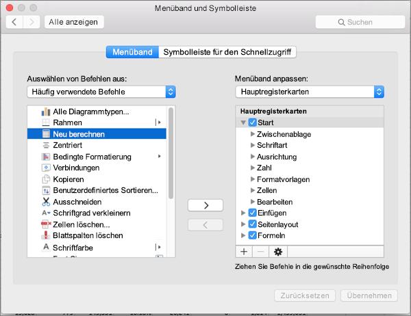 Office 2016 für Mac – Menüband anpassen
