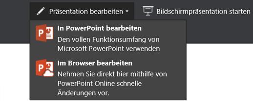 "Präsentation bearbeiten, ""Bearbeiten"" im Browser auswählen"