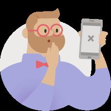Abbildung einer Person, die ein Telefon mit einem Fehler hält