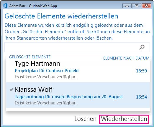 "Outlook Online-Dialogfeld ""Gelöschte Elemente wiederherstellen"""