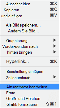 Option Alternativtext im Kontextmenü in Word
