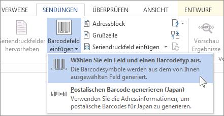 Befehl zum Einfügen eines Barcodes