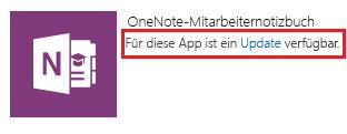 Screenshot des Updatelinks für die App für OneNote-Kursnotizbücher für Mitarbeiter
