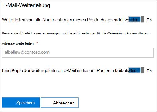 Screenshot: Eingeben der E-Mail-Adresse für die Weiterleitung