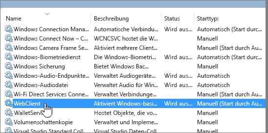 """""""Services.msc"""" mit hervorgehobenem Eintrag """"WebClient"""""""