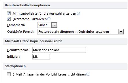 """Der Bereich """"Allgemeine Optionen"""" in Word 2010"""