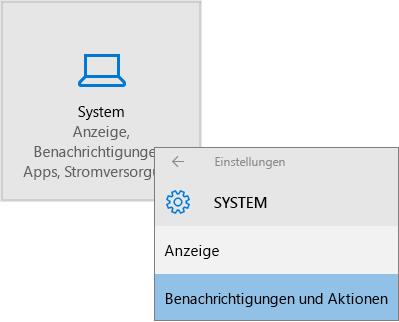 """Windows-Einstellungen, Auswahl von """"System"""", dann """"Benachrichtigungen und Aktionen"""""""