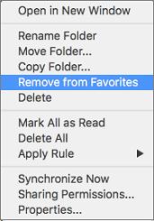 Option ' aus Favoriten entfernen ' im Kontextmenü