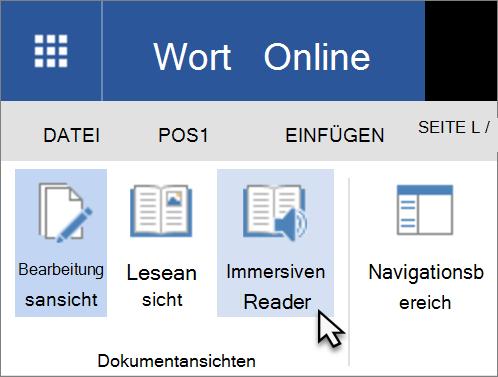Öffnen Sie Learning-Tools in Word Online, indem Sie die Registerkarte ' Ansicht ' auswählen