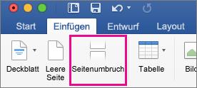 """Auf der Registerkarte """"Start"""" ist """"Seitenumbruch"""" hervorgehoben."""