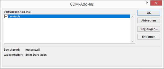 Verwalten von: COM-Add-ins