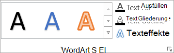 Die Gruppe ' WordArt-Formate
