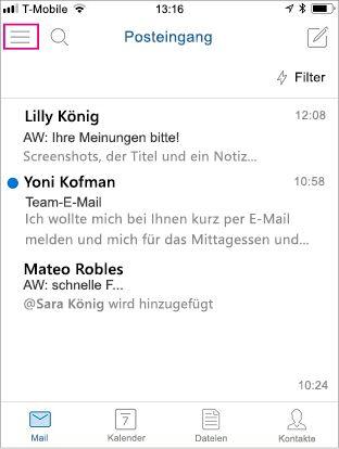 Startbildschirm von Outlook Mobile mit hervorgehobener Menüschaltfläche