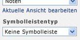 Webpart-Toolbereich mit ausgewähltem 'Keine Symbolleiste' in der Liste 'Symbolleistentyp'
