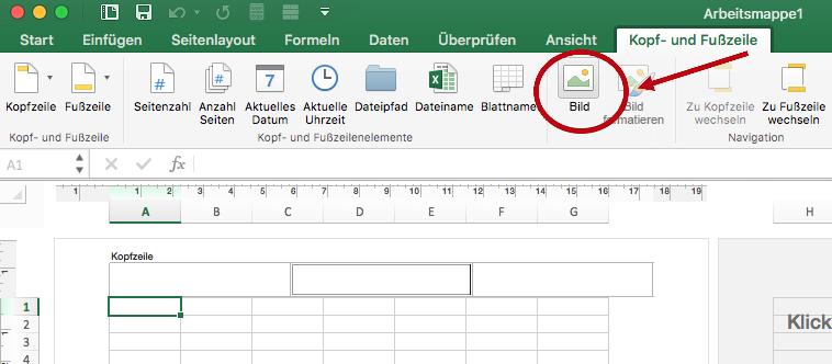 """Option """"Bild"""" auf der Registerkarte """"Kopf- und Fußzeile"""" im Menüband"""