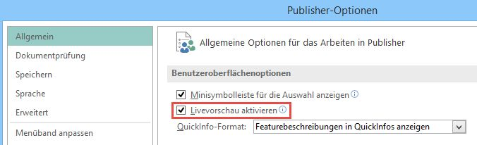 """Aktivieren der Funktion """"Livevorschau"""" in Publisher 2016"""