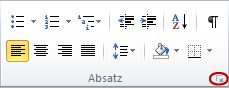 """Startprogramm für das Dialogfeld """"Absatz"""""""