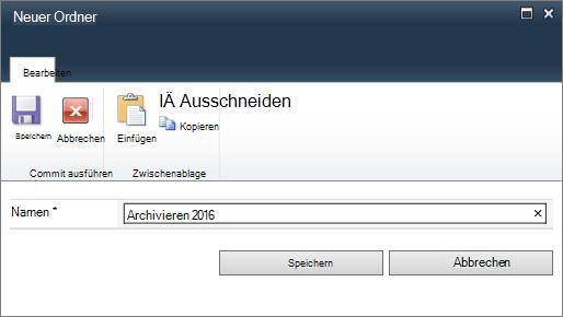 "SharePoint 2010-Dialogfeld ""Neuer Ordner"""