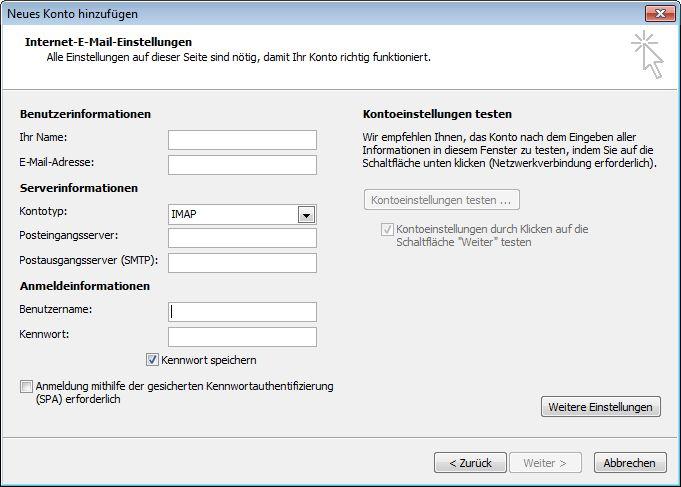 Outlook 2010, Einstellungen für Internet-E-Mail
