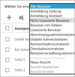 """Wählen Sie in der Liste """"Ansicht auswählen"""" die Ansicht der nicht lizenzierten Benutzer aus."""