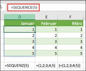 Erstellen einer vertikalen Matrixkonstante mit = Sequence (5) oder = {1; 2; 3; 4; 5}