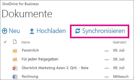 Synchronisieren von OneDrive for Business auf Ihren Computer