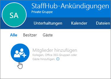 Hinzufügen von Mitgliedern zu einer StaffHub-Gruppe in Outlook